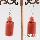 Fashion Cylinder Shape Red Coral Earrings With Fish Hook
