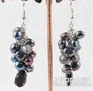Classic Cluster Style Blackish Grey Freshwater Pearl And Black Teardrop Crystal Dangle Earrings