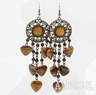 Vintage Style Garnet and Heart Shape Tiger Eye Long Earrings