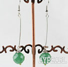 Simple Long Style Faceted Aventurine Dangle Earrings With Fish Hook