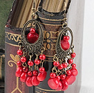 Lovely Vintage Red Bloodstone And Coral Dangle Earring With Loop Bronze Charm And Silver Fish Hook