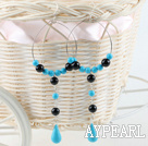 Large Diameter Loops Round And Teardrop Blue Turquoise And Black Agate Dangle Earrings