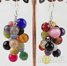 Lovely Cluster Style Multi Color Stone Beads Earrings