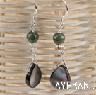Fashion Agate And Natural Black Teardrop Shell Earrings