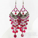 Faceted Rose Red Agate Chandelier Earrings