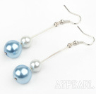 dangling white and light blue acrylic ball earrings