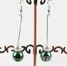 dangling white and green acrylic ball earrings