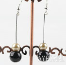 Wholesale dangling gold champagne and black acrylic ball earrings