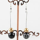 Wholesale dangling gold and black acrylic ball earrings