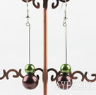 Wholesale dangling green and brown acrylic ball earrings