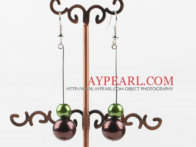 dangling green and brown acrylic ball earrings