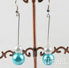 dangling white and sea blue acrylic ball earrings
