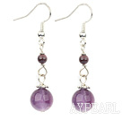 Lovely Simple Style Round Garnet And Natural Amethyst Ball Dangle Earrings