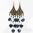 Vintage Style Black Agate and Heart Shape Lapis Long Earrings