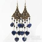 Wholesale Vintage Style Black Agate and Heart Shape Lapis Long Earrings