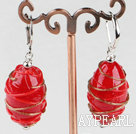 Lovely Turbinate Shape Red Colored Glaze And Golden Wraped Dangle Earrings With Ear Hoops