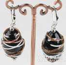 Lovely Simple Style Black Colored Glaze Wrapped Dangle Earrings With Lever Back Hook