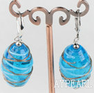 lovely sea blue colored glaze earrings