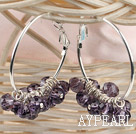trendy manmade purple faceted crystal hoop earrings