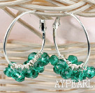 Wholesale trendy manmade green faceted crystal hoop earrings