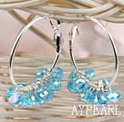 trendy manmade shinning blue faceted crystal hoop earrings