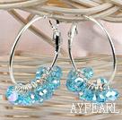 Wholesale trendy manmade shinning blue faceted crystal hoop earrings