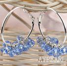 Wholesale trendy manmade light blue faceted crystal hoop earrings