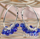 Wholesale trendy manmade gem blue faceted crystal hoop earrings