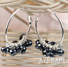 trendy manmade black faceted crystal hoop earrings