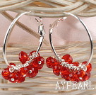 Wholesale trendy manmade red faceted crystal hoop earrings