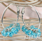 trendy manmade sea blue faceted crystal hoop earrings
