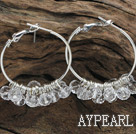 trendy manmade clear faceted crystal hoop earrings