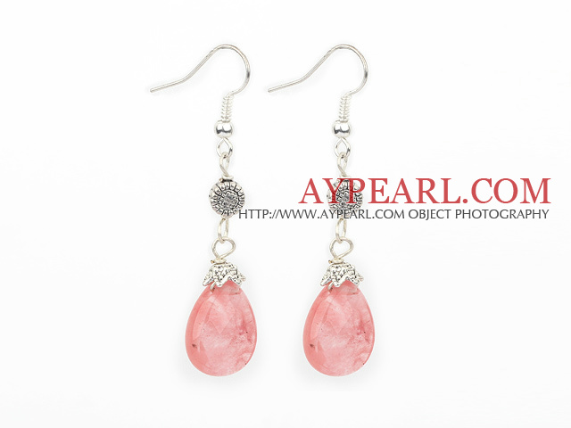 Lovely Short Style Drop Shape Cherry Quartz And Flower Metal Charm Earrings With Fish Hook