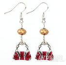 Fashion Red Colored Glaze And Silver Charm Handbag Loop Earrings With Fish Hook
