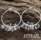 trendy manmade light grey faceted crystal hoop earrings