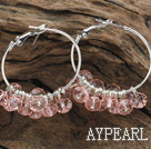 trendy light pink faceted crystal hoop earrings