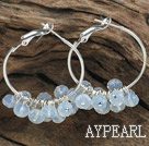trendy manmade faceted opal crystal hoop earrings