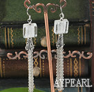 Wholesale dangling style clear colored glaze earrings with tassel