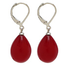 Fashion 12*16Mm Drop Shape Red Sea Shell Beads Earrings With Lever Back Hook