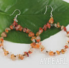 Large-diameter circle agate chips earrings