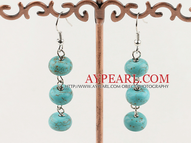 Lovely Simple Style Green Turquoise Dangle Earrings With Fish Hook