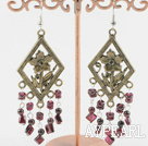 Vintage Garnet Dangle Earrings With Bronze Charm