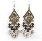 Vintage Garnet Dangle Earrings With Metal Bronze Charm