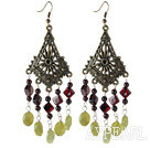Vintage Style Round Cylinder Garnet And Oval Yellow Olive Stone Dangle Earrings With Bronze Charm