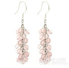 Beautiful 4Mm Cluster Style Round Cherry Quartz Loop Link Dangle Earrings With Fish Hook