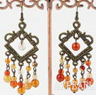 Popular Vintage Style Round Agate Dangle Earrings With Bronze Loop Charm