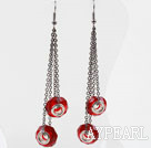 Wholesale Dangle Style Red Colored Glaze Long Earrings