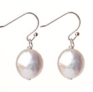 Wholesale cute white fresh water button pearl earrings