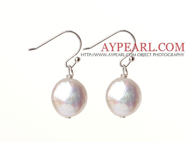cute white fresh water button pearl earrings