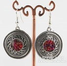 Wholesale Lovely CCB silver like earrings with red beads in center